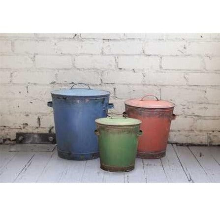 Tin Buckets w/ Lid - Distressed Finish, Set of 3 - E.T. Tobey Company