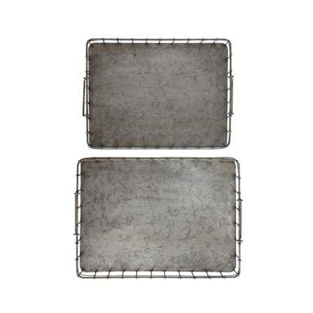 Decorative Iron Trays w/ Handles
