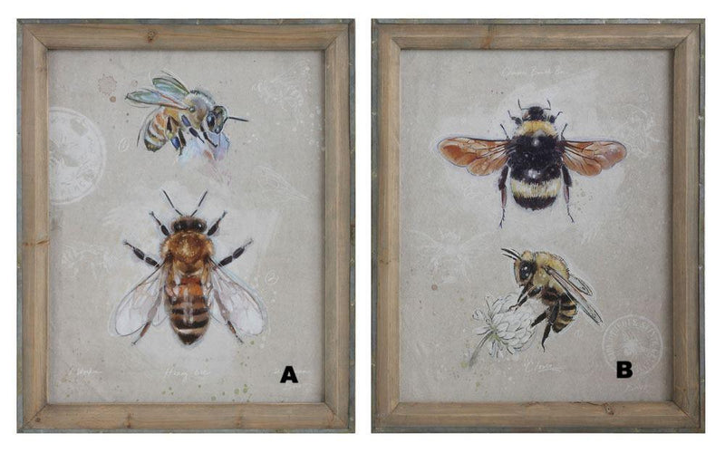 Wood Framed Canvas w/ Bees