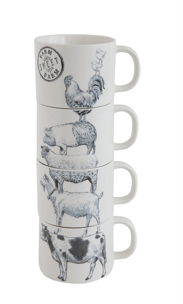 Stacked Mugs w/ Farm Animals