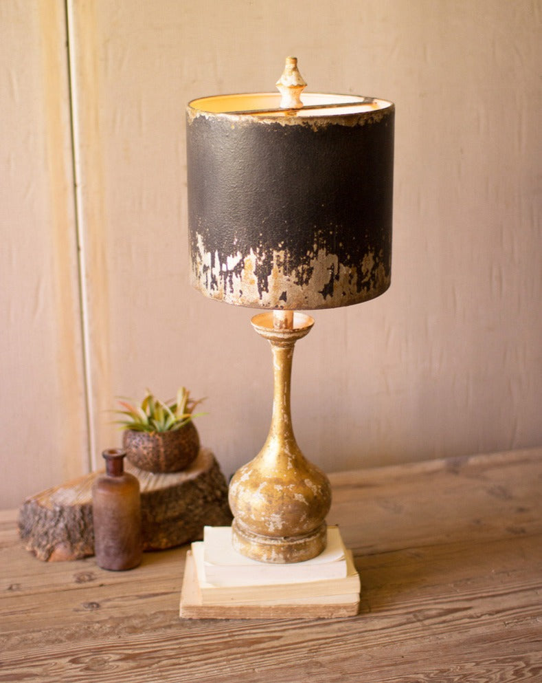 Table Lamp with Round Wooden Base & Black & Gold Metal Shade