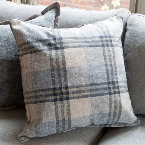 Farm House Blue Plaid Throw Pillow