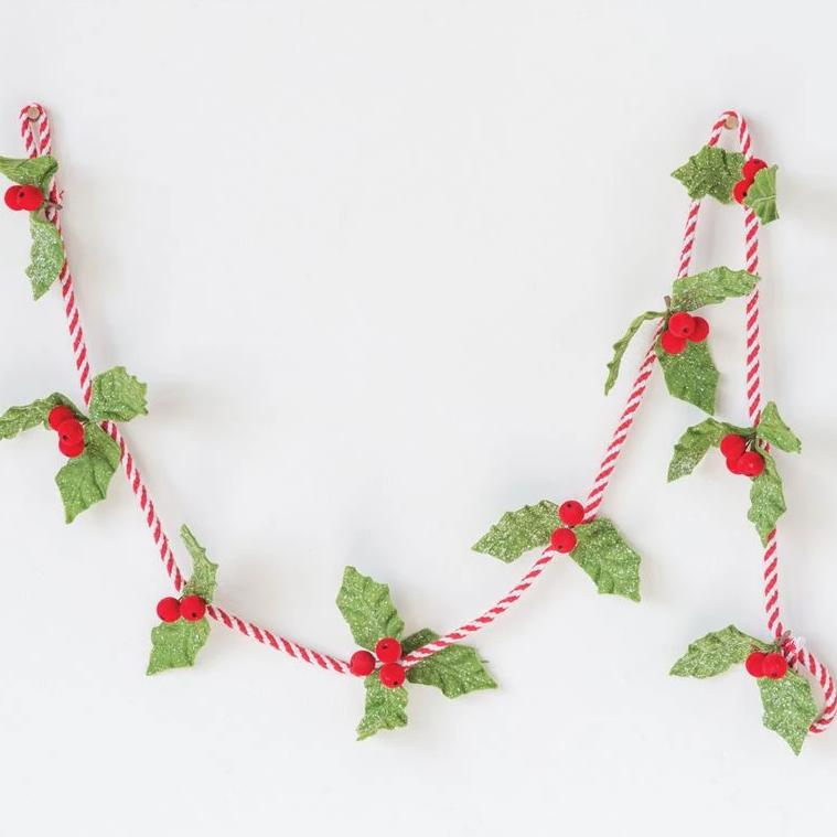 Felt Holly Leaf Garland w/ Red Berries