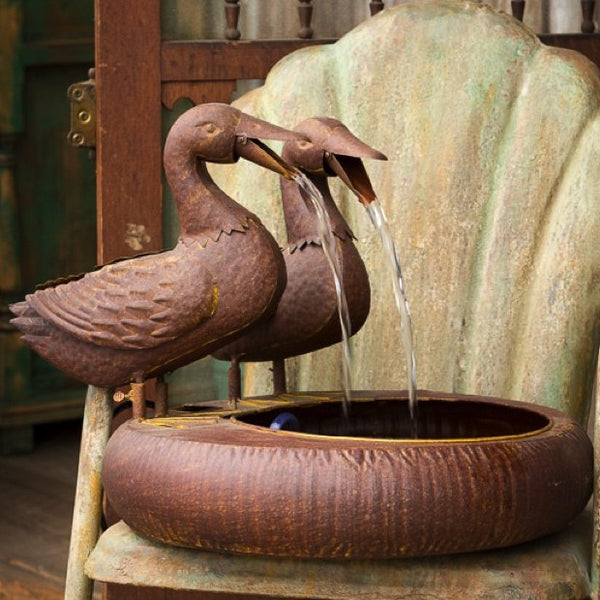 Folk Art Duck Fountain - E.T. Tobey Company