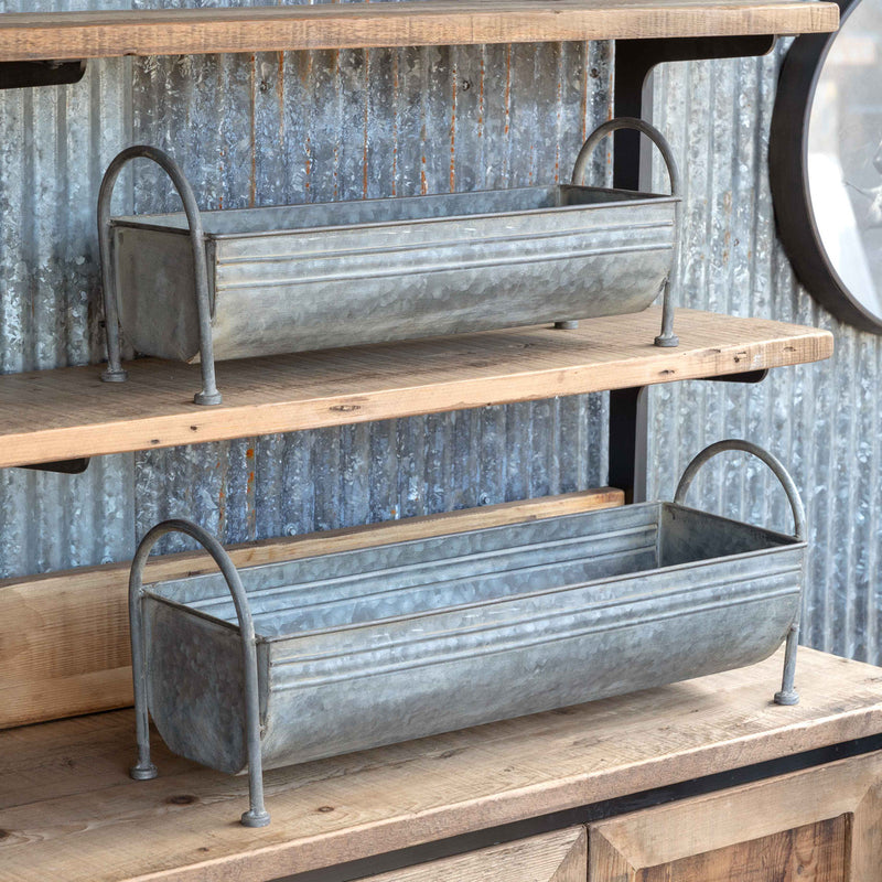 Footed Metal Trough Containers