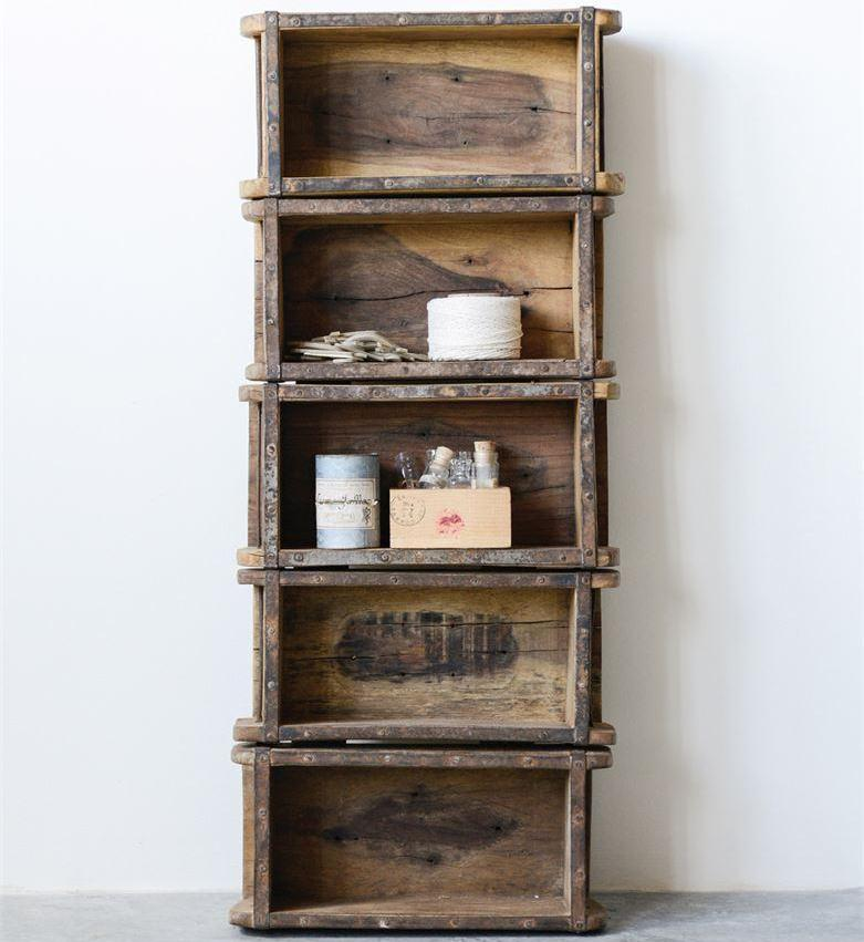 Found Wood Brick Mold Shelf w/ 5 Shelves