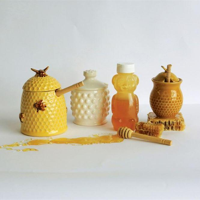 Stoneware Bee Skep Honey Jar w/ Wood Honey Dipper