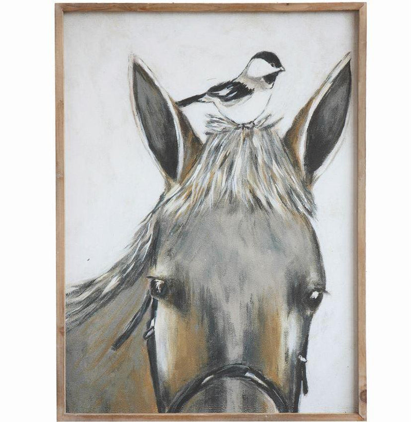 Wood Framed Canvas w/ Horse & Bird