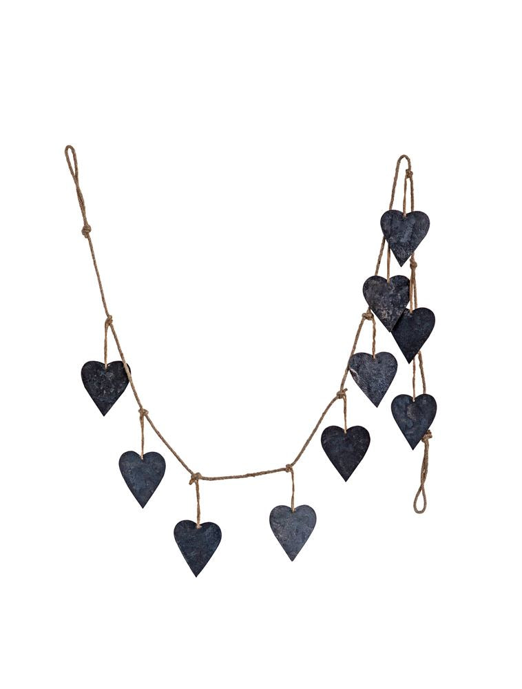 Jute & Metal Heart Garland