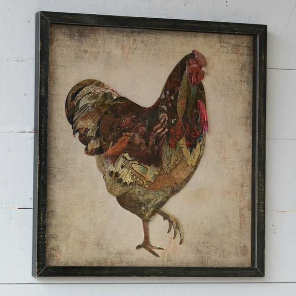 Framed Vintage Style Paper Collage Rooster And Hen - park hill collection