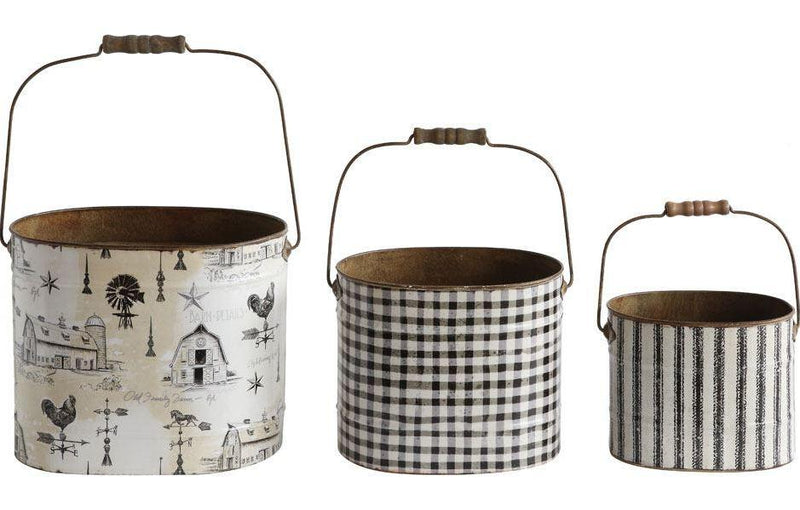 Metal Buckets w/ Wood Handle