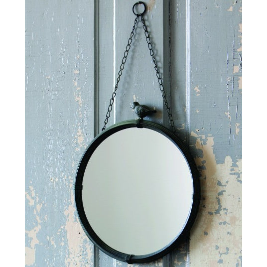 "Hanging 6.5"" Round Mirror With Detail - vintage mirror"