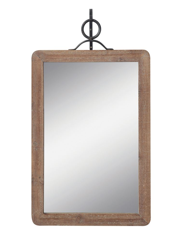 Wood Framed Wall Mirror w/ Metal Bracket