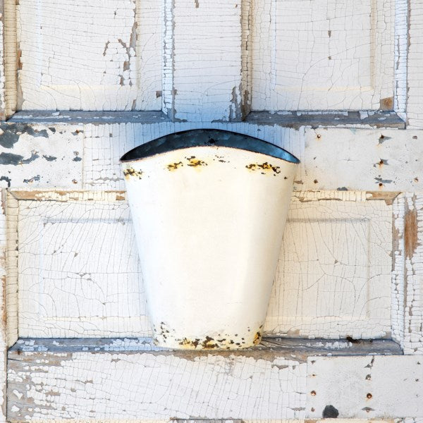 Old White Metal Wall Bucket