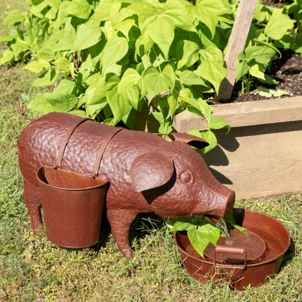 Pig Fountain with Side Planters