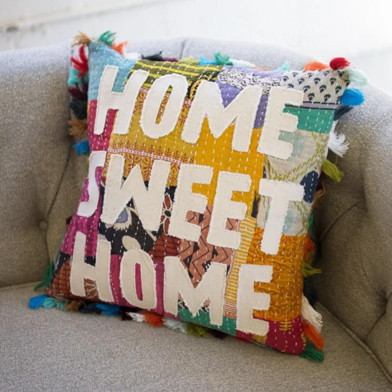 Home Sweet Home Kantha Tassels Pillow