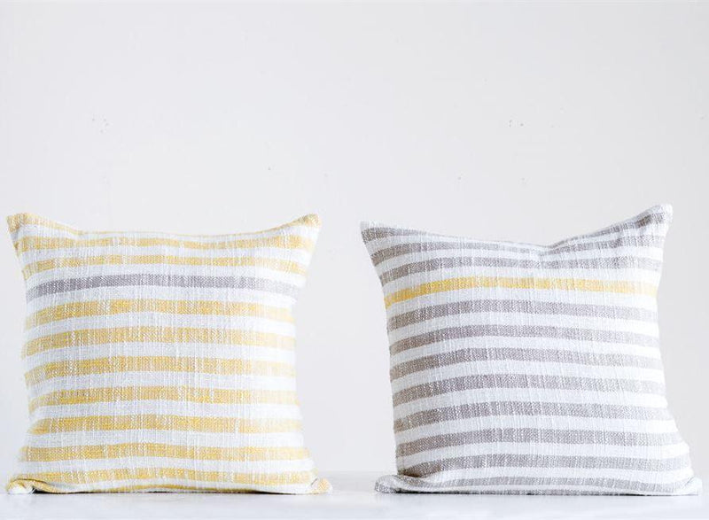 Square Cotton Woven Striped Pillow