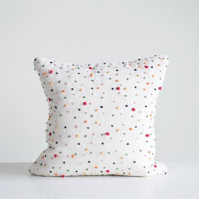 Cotton Pillow w/ French Knots