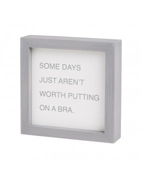 Putting On Bra Gray Letterboard