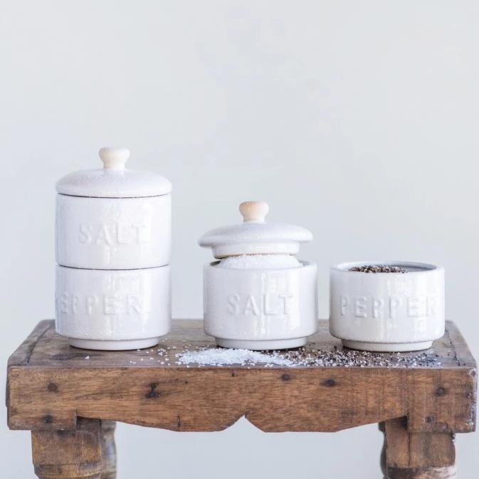 Stoneware Stackable Salt & Pepper Pots w/ Lid