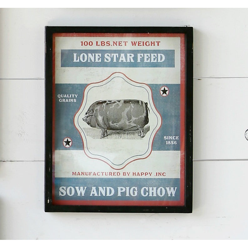 Framed Feedsack Pig Chow - E.T. Tobey Company