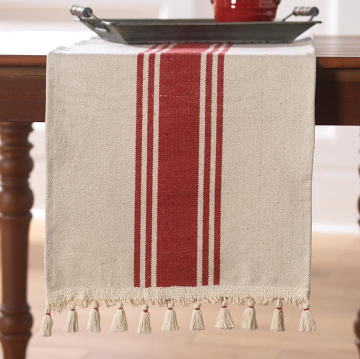 Striped Table Runner - Holiday table runner - fixer upper style