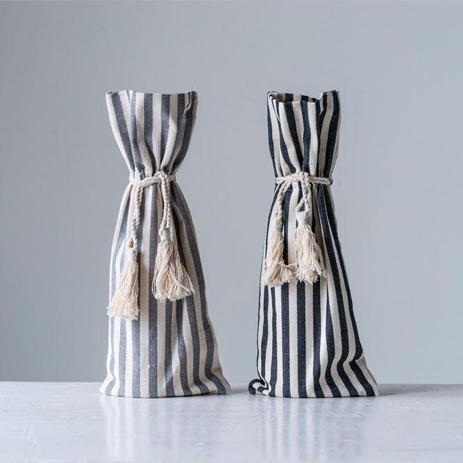 Cotton Striped Wine Bag w/ Tassels