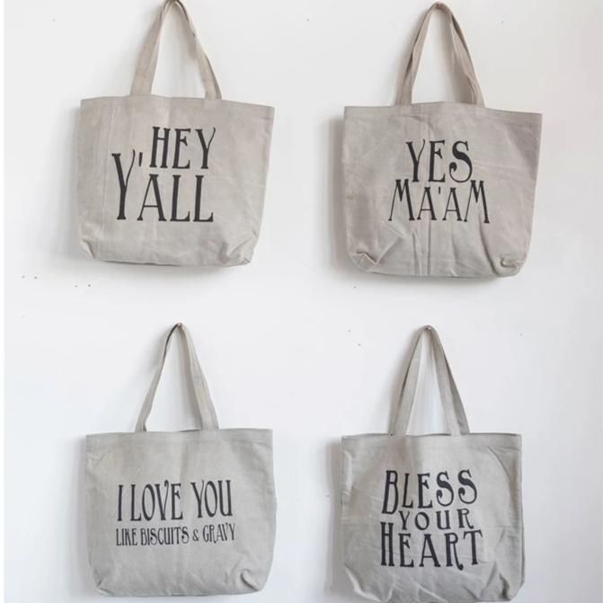 Cotton Canvas Tote Bag w/ Southern Saying & Handles