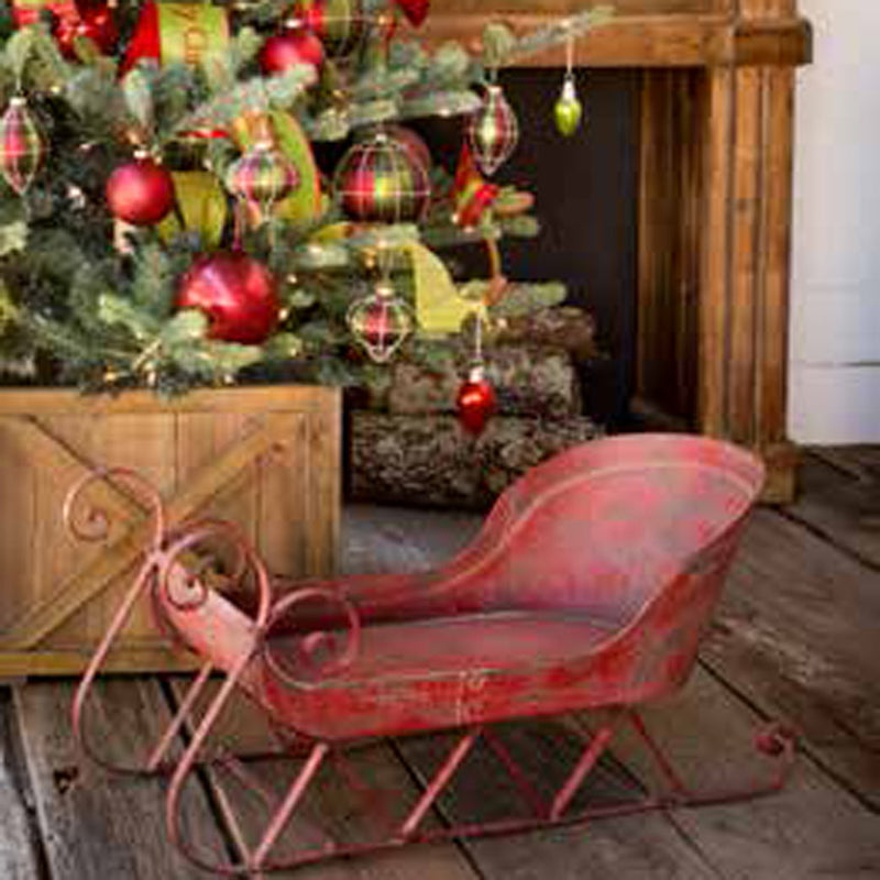 Vintage Style Red Sleigh - Vintage Christmas decor