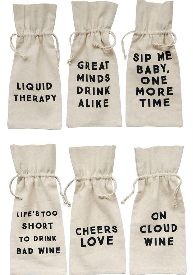Cotton Drink Bag w/ Saying