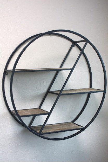 Metal Round and Wood Shelf