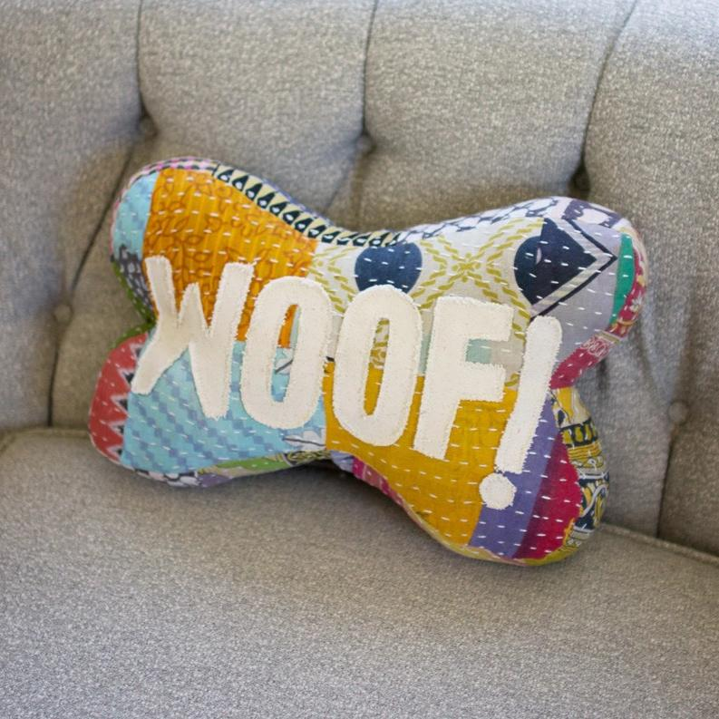 Woof Kantha Bone Pillow
