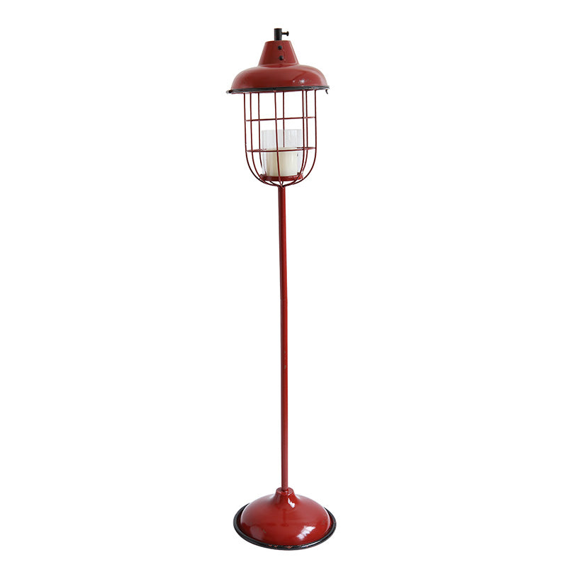 Red Metal Lantern Candle Holder