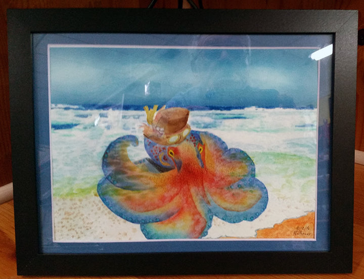 Original Watercolor Painting Octo Steampunk Matted/Framed