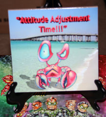 Attitude Adjustment Time Crab Custom Art Print Tile
