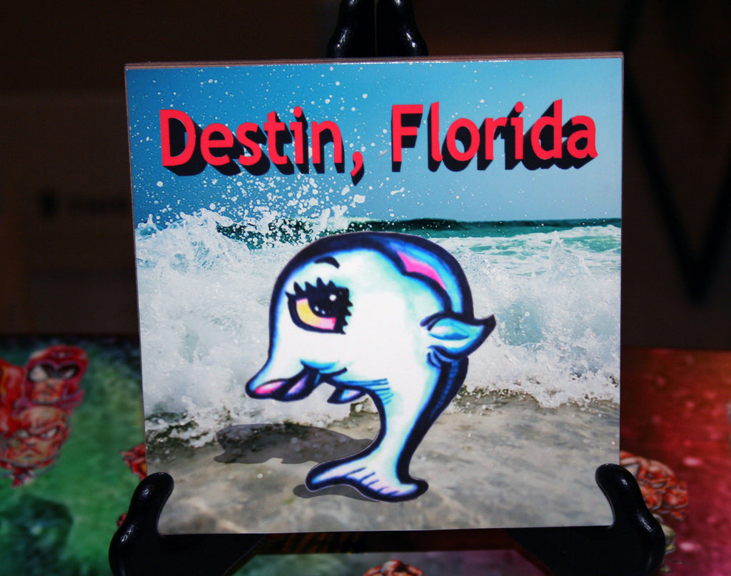 Destin Dolphin Custom Art Print Tile