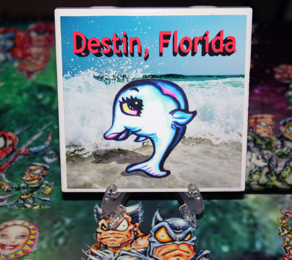 Destin Dolphin Custom Art Print Drink Coaster