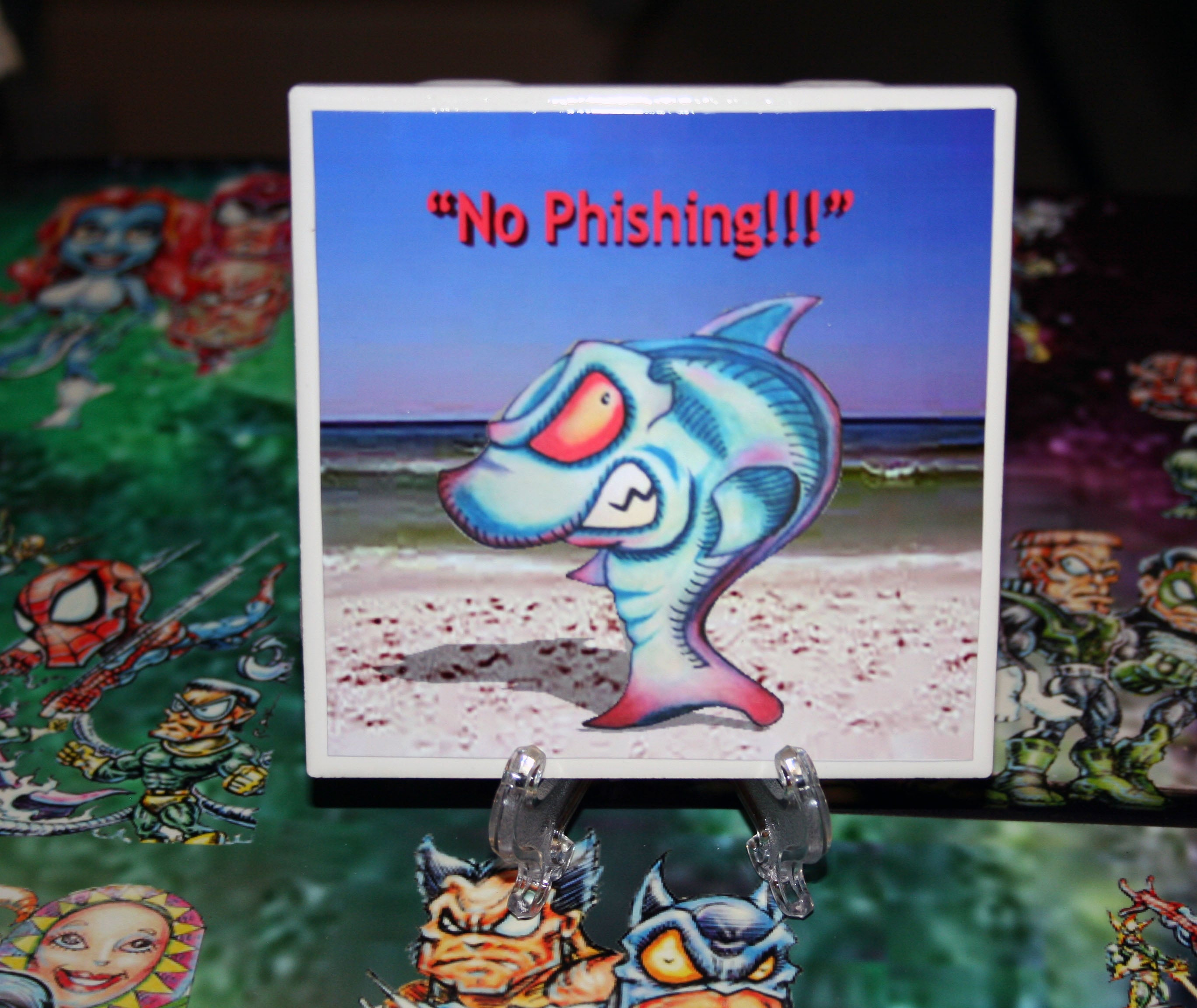 No Phishing Custom Art Print Drink Coaster