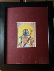 Mandalorian Sketch Card Framed/Matted to 5x7