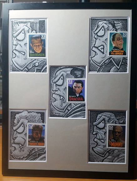 Universal Monster Stamp Sketch Cards by RAK  Framed/Matted