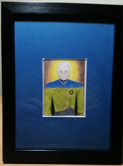 Capt Picard 2.5x3.5 Sketch Card Framed Original Art