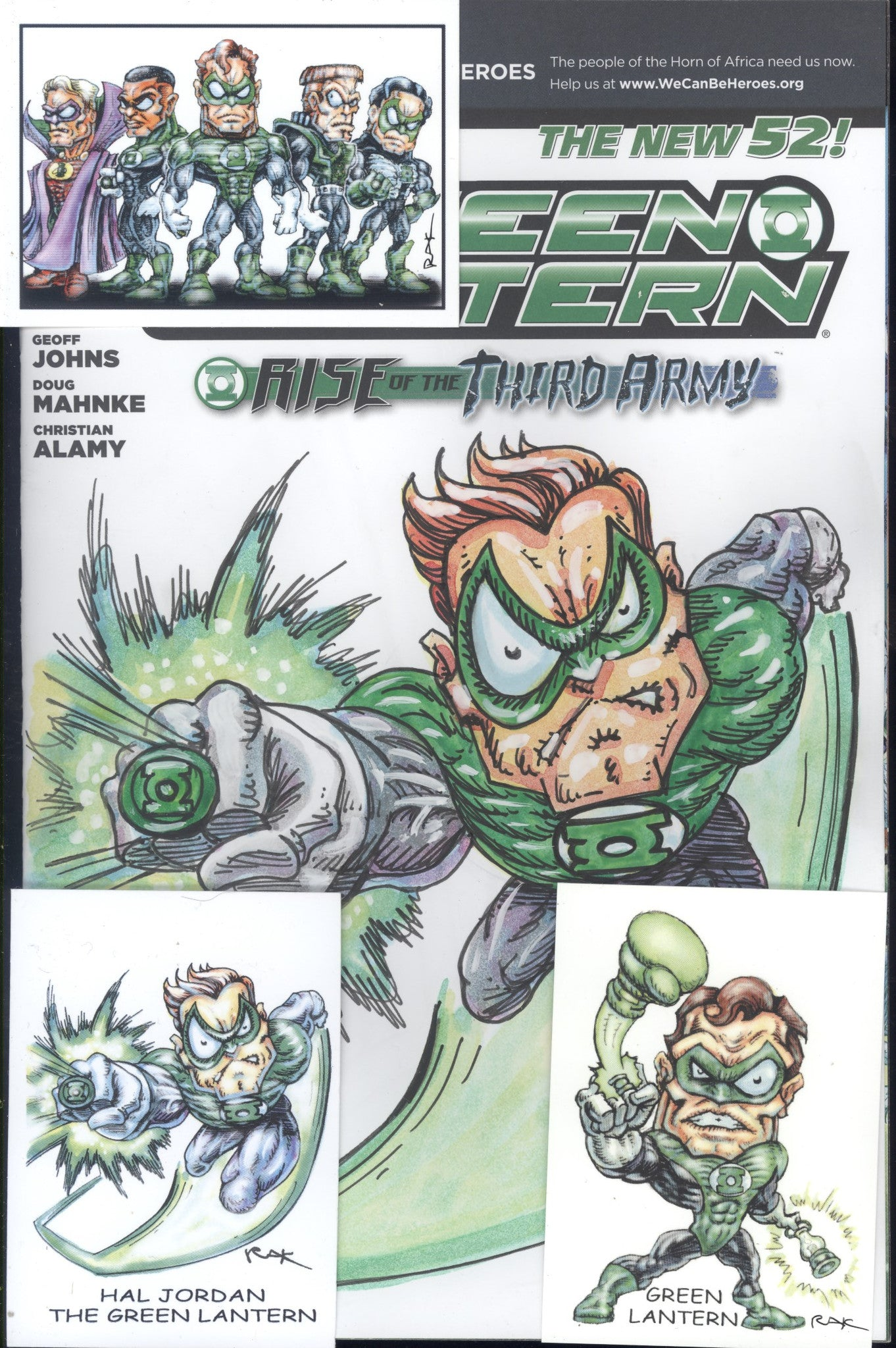Green Lantern #13 W/OriginalArt by RAK (Robert A Kraus) & Hand Signed ACEO Cards