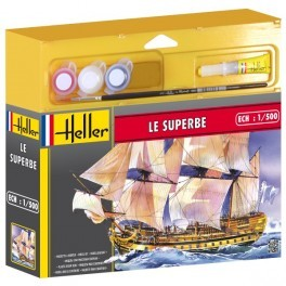 1/500 Le Superbe 3-Masted Sailing Ship w/Paint & Glue (D)