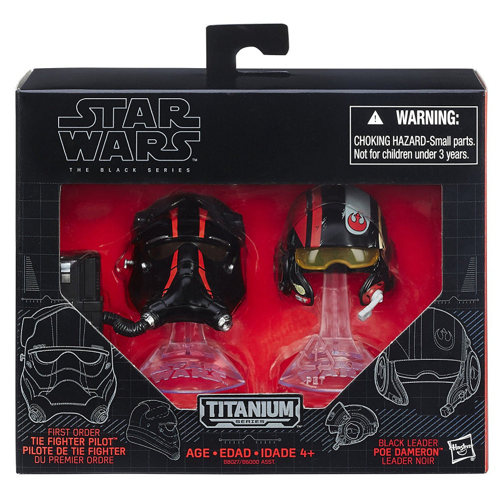 SW: E7: BK Ser: Die Cast Helmet Black Leader Poa Dameron & First Order Tie Fighter Pilot