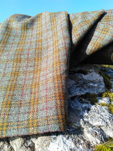 HARRIS TWEED ~ Grey, Mustard Check with Burgundy ~ ULS#39 - Back In Stock Soon