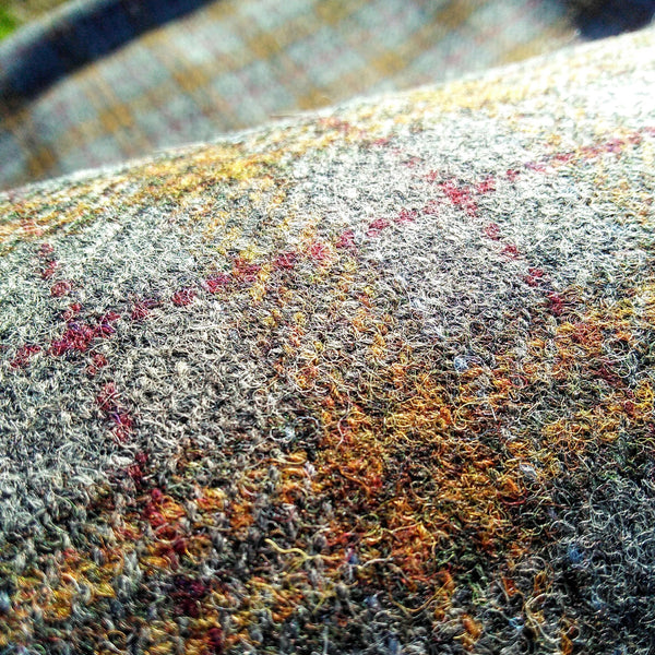 HARRIS TWEED ~ Grey, Mustard Check with Burgundy ~ ULS#39