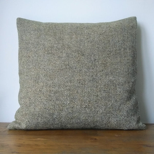 Loden Green & Oatmeal Herringbone HARRIS TWEED cushion