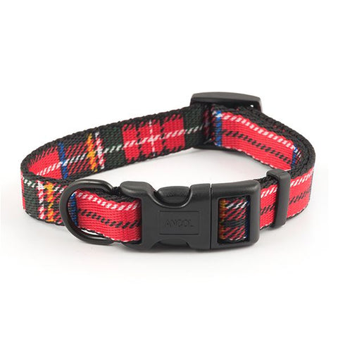 "Nylon Adjustable Tartan Dog Collar (8-14"")"