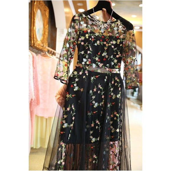 Floral Embroidery Black O-Neck Dress CoolHatcher at TheArtOfLiving.Earth