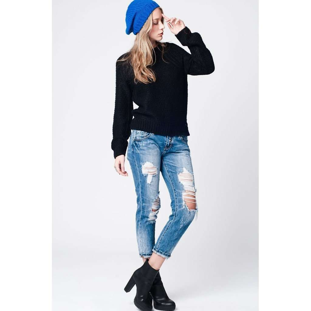 Black mohair knit sweater with round neckline and ribbed hem CoolHatcher at TheArtOfLiving.Earth